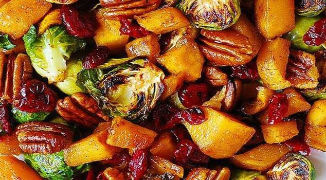 Roasted Brussels Sprouts, Cinnamon Butternut Squash, Pecans, and Cranberries Recipe