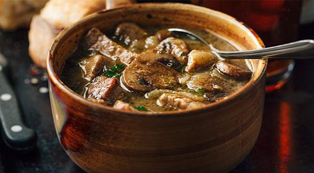 Steak and Ale Soup with Mushrooms Recipe