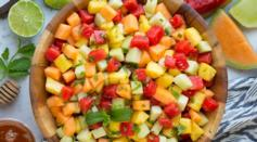 Dave's Marketplace - Melon and Pineapple Fruit Salad with Honey, Lime and Mint Dressing